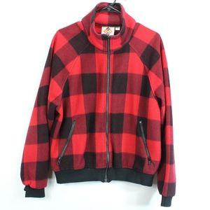 Vintage 80s Columbia Mens Medium Fleece Jacket Red